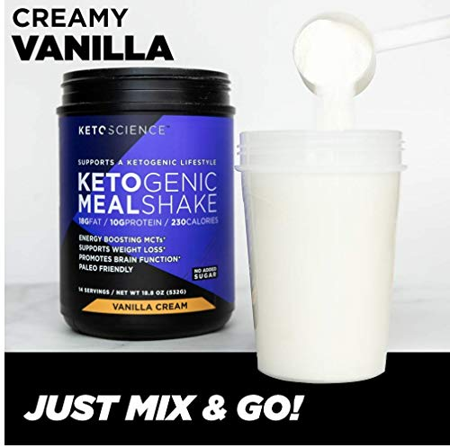 Keto Science Ketogenic Meal Shake Vanilla Dietary Supplement, Rich in MCTs and Protein, Paleo Friendly, Weight Loss, 14 servings, 18.8 oz Packaging May Vary