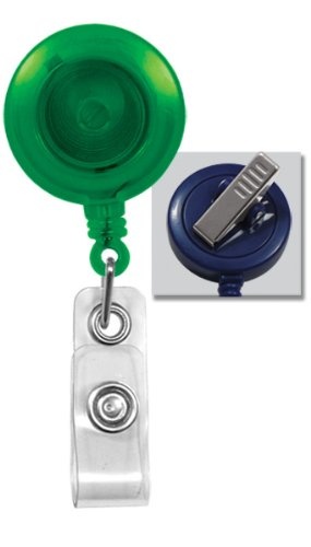 Translucent Green Retractable Badge Reel With Swivel Spring Clip by Specialist ID, Sold Individually