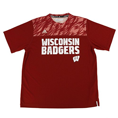 Adidas Wisconsin Badgers Shock Energy Performance Crew T Shirt  Red  Xl