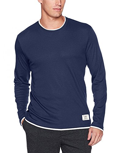 Layered Look Stripe Shirt (Plusart Men's Long Sleeve T-shirt Layered Look Fashion Clothing (US XL/48 (Asia 3XL), Navy Blue))