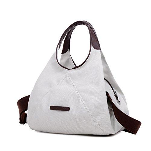 WLE M Size Canvas Multi Zipper Pocket Purse Simple Retro Style Fashion Hobo Handbag For Women Girls Ladies with Shoulder (Fabric Handbags)