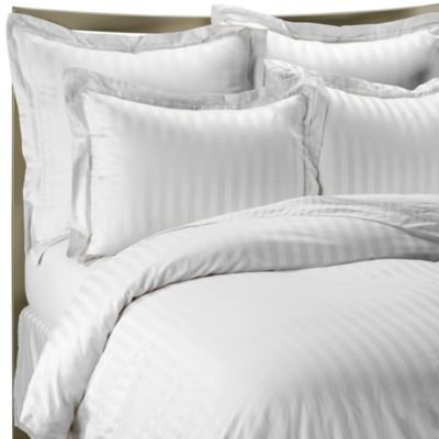 CDM product Unique Bedding Mills 1400 Thread Count FULL WHITE Striped Luxury 8-Peices Bed-in-a-bag Set -100% Egyptian Cotton small thumbnail image
