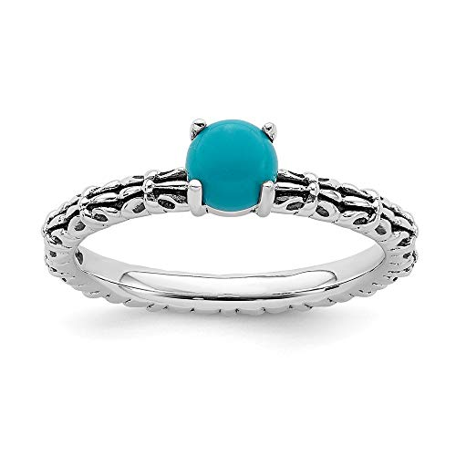 (925 Sterling Silver Blue Turquoise Band Ring Size 6.00 Stone Stackable Gemstone Natural Lapi Fine Jewelry Gifts For Women For Her)