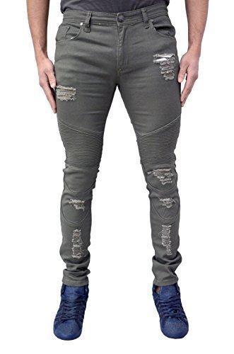 Homme Design Soul Star Skinny Extensible Motard Jeans Fin Rip & Réparation Délavé Déchiré Look Mode Jeans - Kaki, 34W x 34L