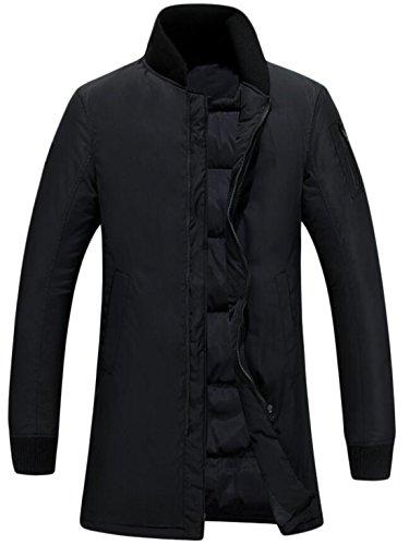 EKU Men's Sport Mid-Long Stand Collar Warm Down Jackets Black US 3XL