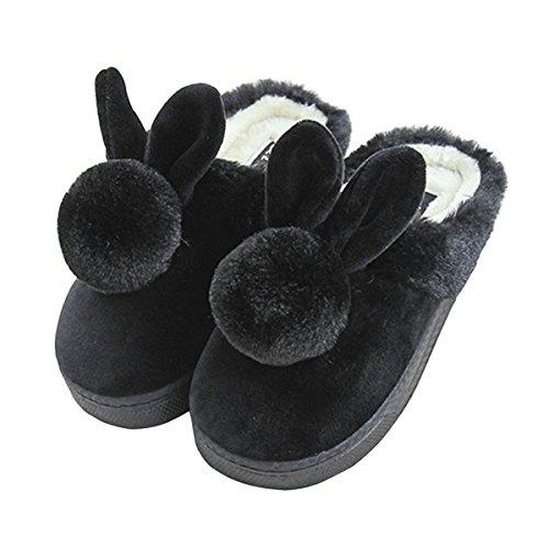 Unión Tesco adultos algodón Pantuflas, nette Caricatura Rabbit Zapatillas/Slip Personas Invierno Cálidos plusch de zapatillas, zapatillas Indoor Floor antideslizante zapatillas negro