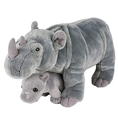 "Adventure Planet Birth of LIfe Rhino and Baby Plush Toy 14"" Long: Toys & Games"