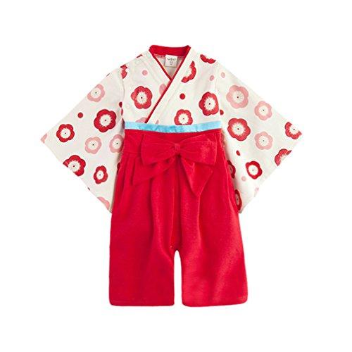 Japonais Rouge En Longue Acvip Manche Kimono Combinaison Bébé Barboteuse Coton À Fille 1pc nqw7UqSY