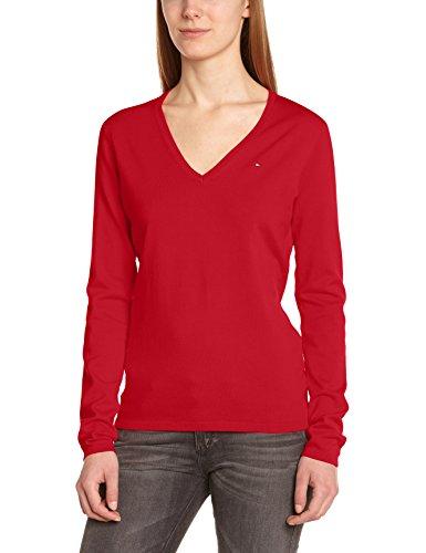 Tommy Hilfiger New Ivy V-Nk Swtr - Jersey con cuello de pico de manga larga para mujer, color rojo (apple red 611), talla 42 (Talla fabricante: XL)