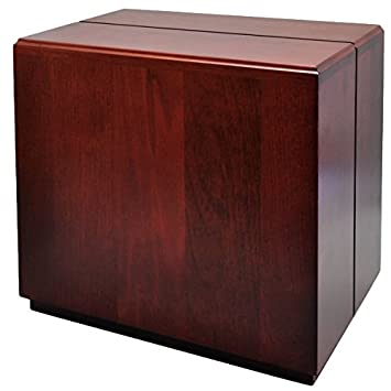 Engravable Cherry Finish Wood Companion Cube Urn for Two