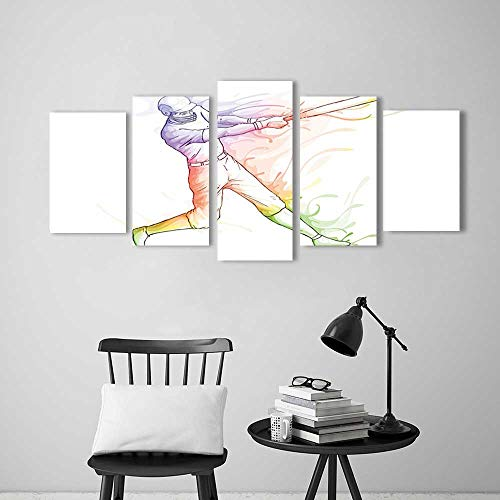 Frameless Paintings 5 Pieces Painting Baseball Player Standing at Home Plate and Hitting Strong Colorful Motion Effects Illustration to liven up and Energize Any Wall or Room.