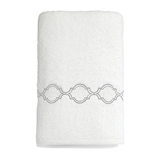 Linum Home Textiles Soft Twist Trellis Premium Authentic Soft 100% Turkish Cotton Luxury Hotel Collection Bath Towel, White/Silver by Linum Home Textiles
