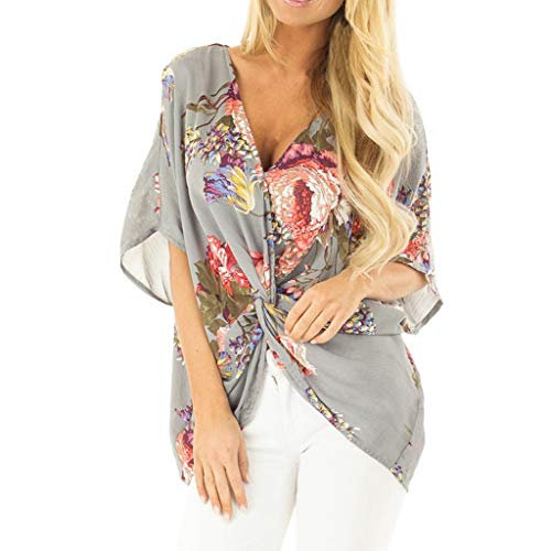 ONLY TOP Womens Casual Short Sleeve V Neck Ruched Twist Floral Tunic Tops for Women Shirts Tops and Blouse S-XXL