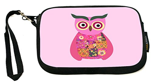 Rikki Knight Pink Owl Patchwork - Neoprene Clutch Wristlet Coin Purse with Safety Closure - Ideal case for Cosmetics Case, Camera Case, Cell Phones, Passport, etc..