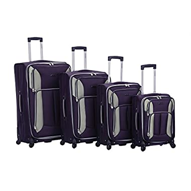 Rockland 4PC Impact Spinner Luggage Set, Purple, One Size