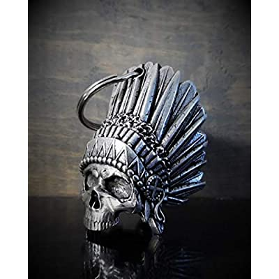 Indian Skull Motorcycle Biker Bell Accessory or Key Chain for Luck: Automotive