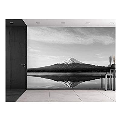 Classic Design, Fascinating Visual, Mount Fuji Being Reflected on a Lake in Black and White Wall Mural