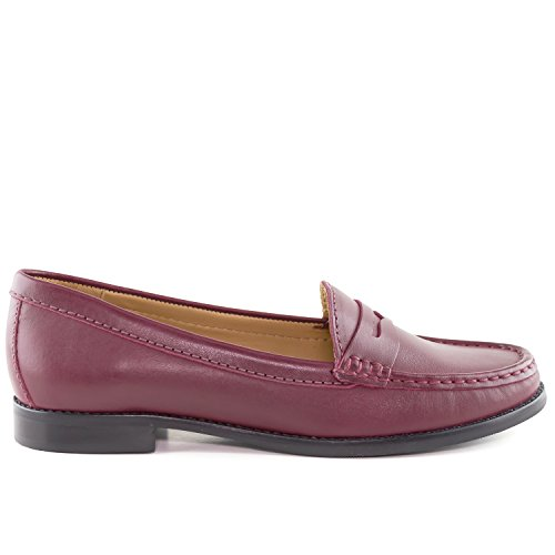 Driver Club Usa Donna Vera Pelle Made In Brasile Greenwich Fashion Penny Loafer Merlot Napa