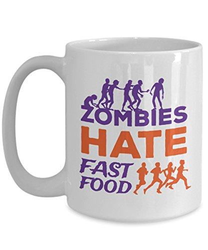 Zombies Hate Fast Food Coffee Mug Funny Halloween Gift Idea For Women Men White 15oz Ceramic -