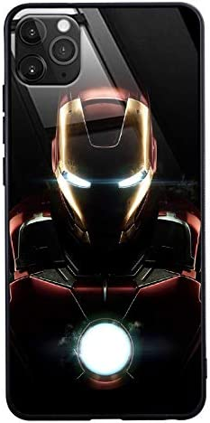 Iron Man Call Led Flash Luminescent Glass Case for iPhone 7 8 Plus Xr 11 Pro Max SE2, Galaxy S10 N10 S20 Plus, Marvel Anti-Scratch Luxury Tempered ...
