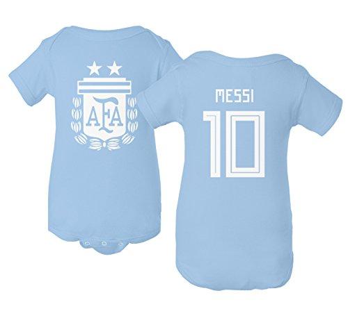 Tcamp Argentina 2018 National Soccer #10 Lionel MESSI World Championship Little Infant Baby Short Sleeve Bodysuit (Carolina Blue, 6M)