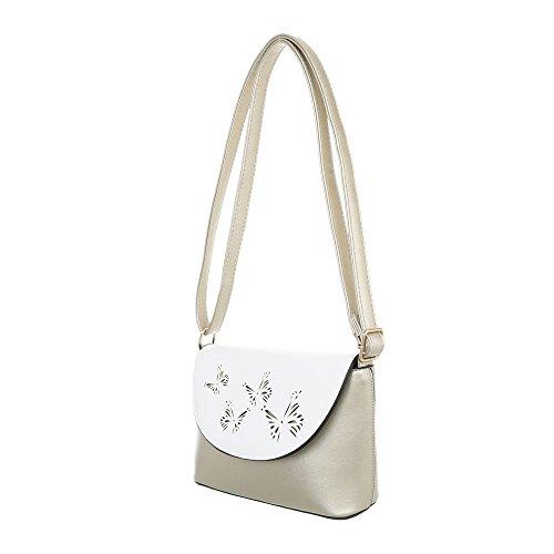 iTal-dEsiGn Damentasche Kleine Schultertasche Umhängetasche Kunstleder TA-11761 Gold Weiß 6WWo4LmB
