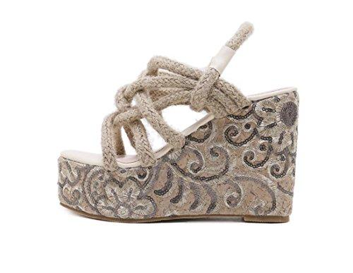 Retro Moda Verano al Zapatos Moda Talón Cómodos Aire de ZXMXY de de Libre Albaricoque al Sandalias Mujeres Zapatos Zapatos Las Cuña Sandalias de Aire de Libre Cáñamo Sandalias zx8SqHaSwA