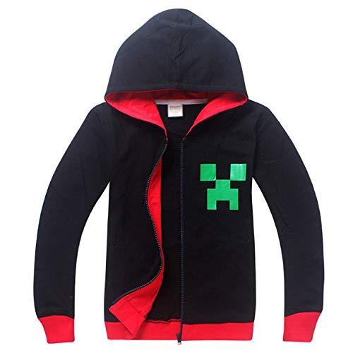 Adult Boys Minecraft Halloween Creeper Costume Ideas Teenage Spring Autumn Black Grey Red Zip Hoodies Sweatshirt for Kids -