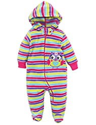 Duck Goose Baby Girls Stripes with Owl Microfleece Footed Snow Pram Bunting, Purple, 3-6 Months