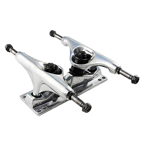 Headytidy 2Pcs 7.5-8.25inch Four-Wheel Skateboard Bridge Bracket Trucks Skateboard Longboard Outdoor Fitness Equipment (Alloy Four Silver)