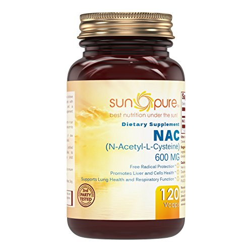 Sun Pure Premium Quality NAC (N-Acetyl Cysteine) - 600mg 120 Vegetarian Capsules Glass Bottle -* Antioxidant Support -* Promotes Heart, Liver & Lung Function