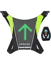 XWT Bike 48 LED Fietsvest Knipperend USB Oplaadrugzak Draadloze Fietsreflecterende LED-rugzak met 5 verstelbare LED-Richtingaanwijzers Voor Waarschuwing Nachts Rijden.(Grijs)