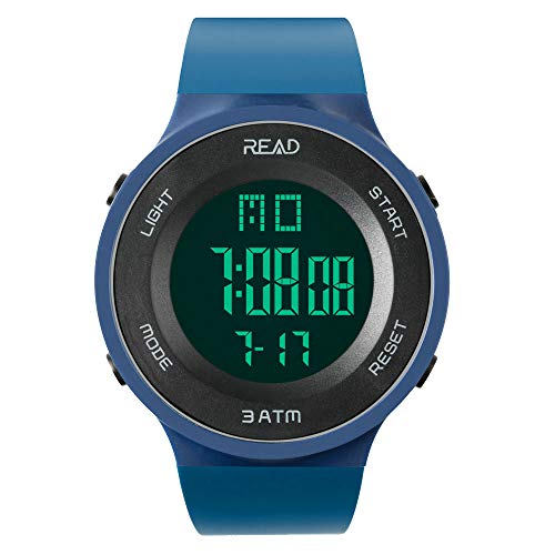 Read Sports Digital Watch for Men Women, Outdoor Military Watches with Alarm, Stopwatch, Calendar, LED Display and Shockproof R90003 (Blue)...
