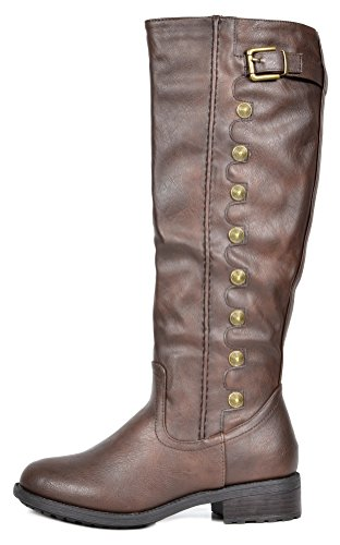 High Knee Toe Heel Zipper Low UTAH Women's DREAM Quilted Accent Army Boots Buckles brown Stacked Wide Round Riding Double PAIRS Calf Available zZz4vI6W