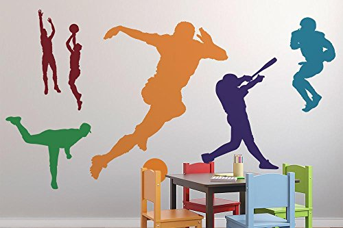 Wallmonkeys Colorful Assorted Sports Silhouettes Wall Decal Sticker Set Individual Peel and Stick Graphic for Boys (48 in W x 32 in H) WM185946 (Wall Art Set Silhouette)