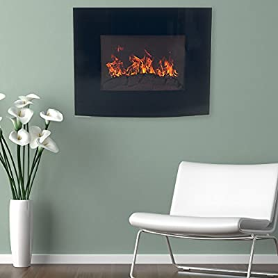 """Home Northwest Black Curved Glass Electric Fireplace Wall Mount & Remote, 32"""", Midnight"""
