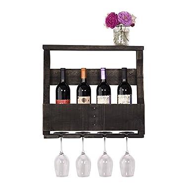 DAKODA LOVE - The Original Wine Rack, USA Handmade Reclaimed Wood, Wall Mounted, 4 Bottle 4 Long Stem Glass Holder & Shelf (Ebony)