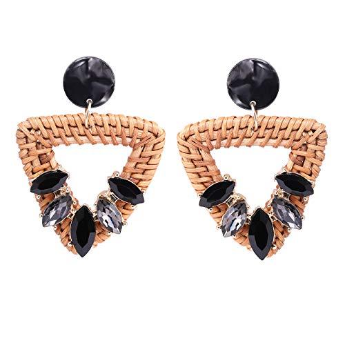 VUJANTIRY Handmade Rattan Jewelry for Women Handwoven Earrings Straw Weaving Hoop Dangle Earrings Lightweight Geometric Braid Resin Stud Drop Earrings (Triangle)