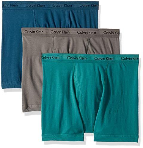 Calvin Klein Men's Cotton Stretch Multipack Boxer Briefs, Grey Sky/Majollca/Raleigh, XL ()