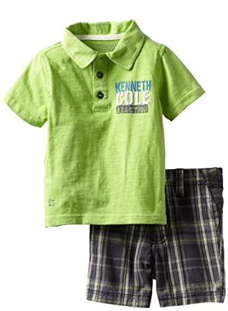 Kenneth Cole Baby Boys' Polo Shirt with Plaided Shorts, Green, 12 Months