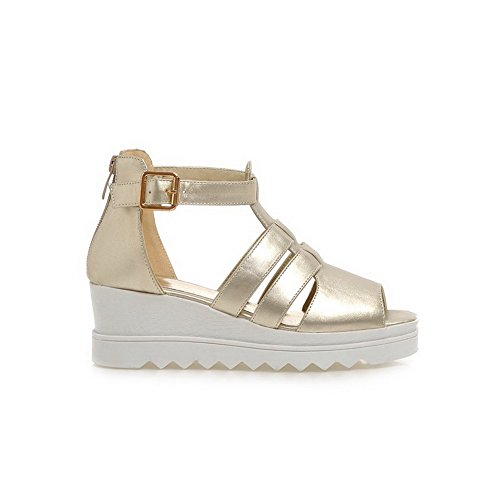 Amoonyfashion Dames Solid Pu Kitten Hakken Open Teen Rits Platforms & Wedges Goud