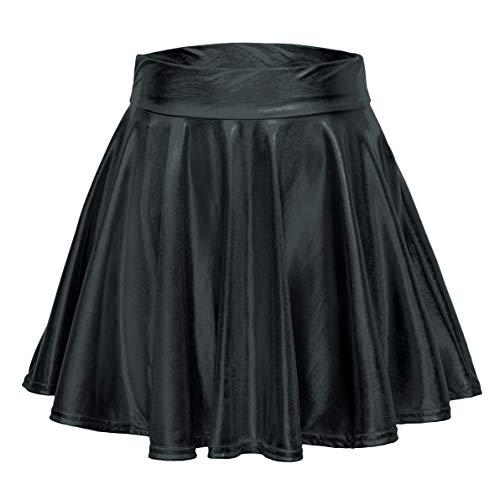 - Urban CoCo Women's Shiny Flared Pleated Mini Skater Skirt (S, Black)