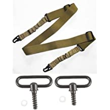 """Ultimate Arms Gear Two Steel 1"""" Inch Slot Loop Wood Screws Swivels with Spacers + Two-Point Sling, Tan Springfield Armory, M1A, M1-A Garand/Carbine, Socom Rifle"""