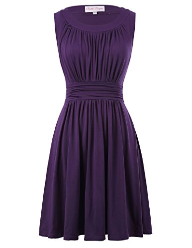 Belle Poque Women Pinup Solid Color Wiggle Vintage Dresses Crew-Neck Size M - Guest Dress Wedding Purple