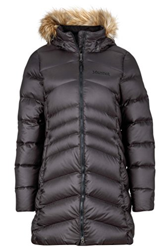 Marmot Montreal Women's Knee-Length Down Puffer Coat, Fill Power 700,Jet Black,Medium