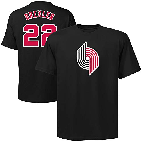 6d0f0c3f7d2 Majestic Clyde Drexler Houston Rockets Black Throwback Jersey Name and  Number T-shirt Medium