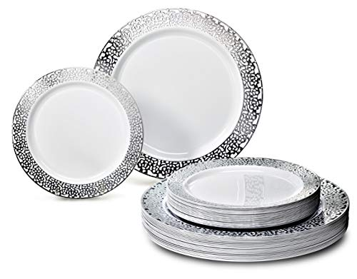 OCCASIONS 120 Piece Pack Heavyweight Wedding Party Disposable Plastic Plates Set - 60 x 10.25'' Dinner + 60 x 7.5'' Salad/dessert (120, Florence ()
