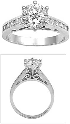 Round Center Cubic Zirconia Solitaire Ring Sterling Silver 925