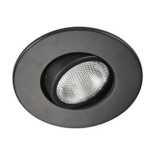 Eco Lighting NY HV4006BK 4-Inch Line Voltage Trim Recessed Light fit Halo/Juno , Adjustable Gimbal Ring, All Black (Voltage Trim Gimbal Ring)