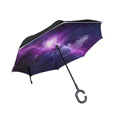 ALAZA Universe Nebula Galaxy Sky Windproof UV Proof Reverse Folding Umbrella, Double Layer Travel Inverted Umbrella with C Shape Handle for Car Use